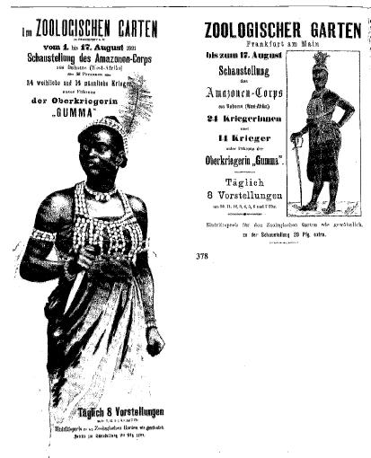 Menschen im Zoo auszustellen galt bis 1945 als normal. (Bild: Vikotira Schmidt-Linsenhoff (Hg.): Plakate 1880-1914: Inventarkatalog des historischen Museums Frankfurt, S.252)