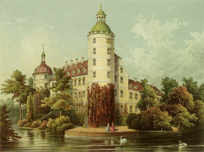 Das Schluss mittem im Park in Muskau: Fürst Pücklers Wohnsitz (Gemälde von August Nothnagel cirka 1865)