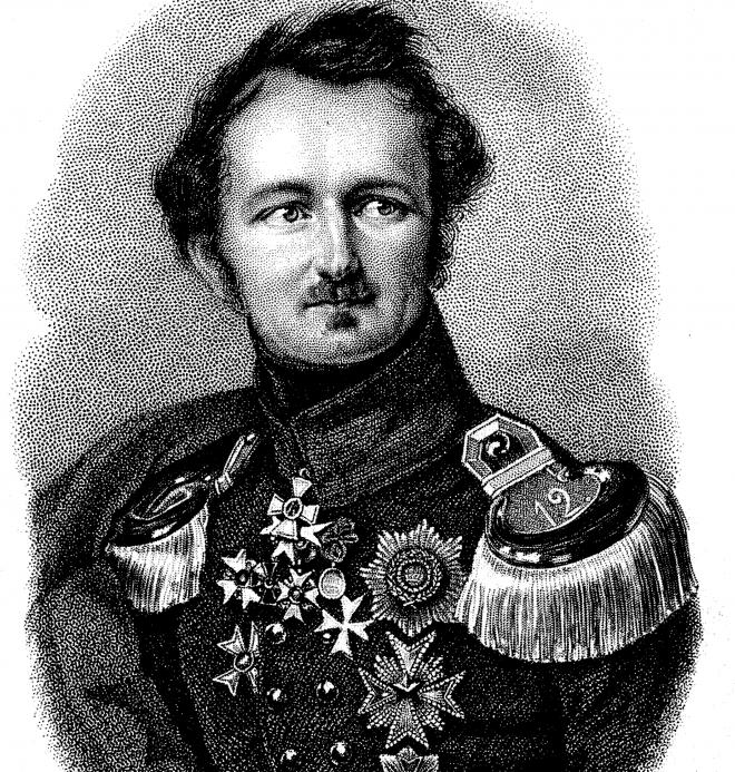 Fürst Pückler in seiner Militaruniform (Stahlstich aus: Deutsches Taschenbuch: Das Jahr 1837) (gemeinfrei)