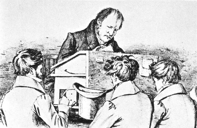 Auch Friedirch Hegel brachte seinen Studenten Rassismus bei. (Lithografie, Ferdinand Kugler, gemeinfrei)