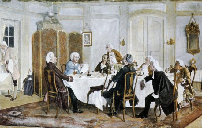 Kant soll sich auch bei seinen Tischgesellschaften rassistisch geäußert haben (Gemälde, Emil Doerstling, gemeinfrei)